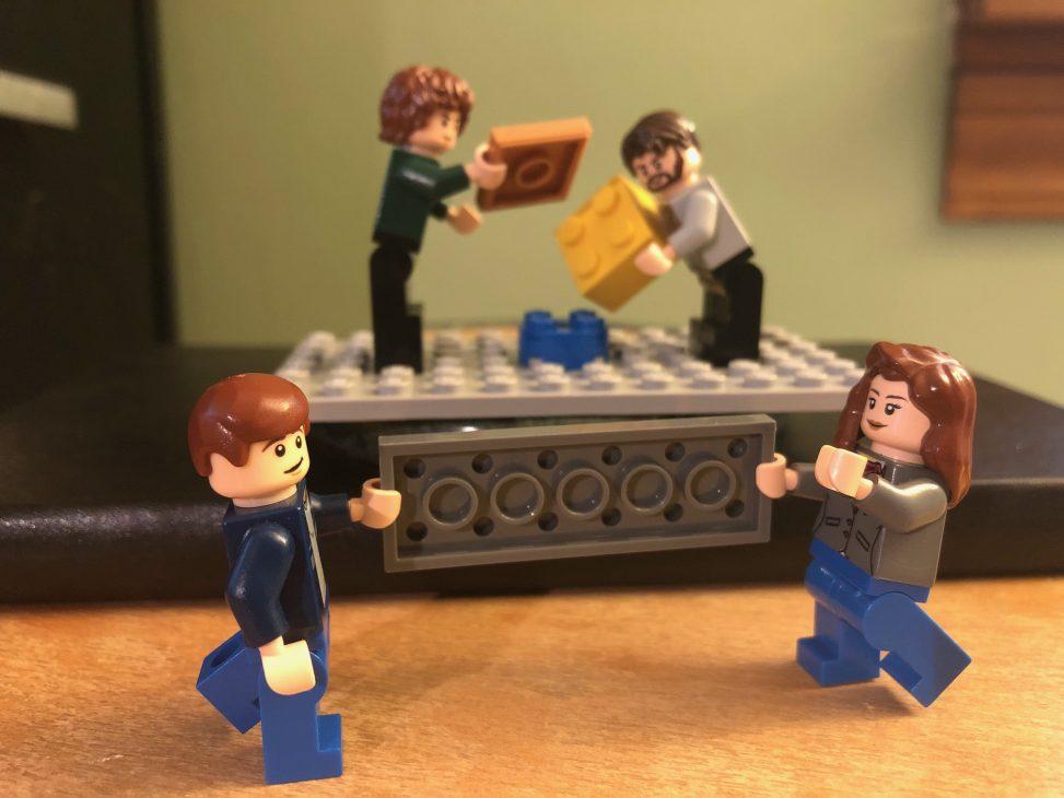 Lego figures posed